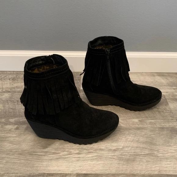 270ed99e9ae Fly London Shoes | Wedge Womens Fringe Boots 8 | Poshmark